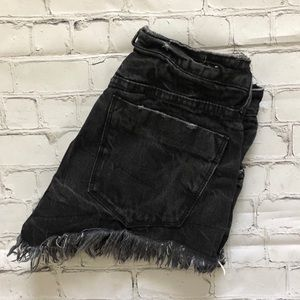 H&M Black The Frayed Mid Rise Jean Shorts
